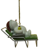 3 inch Snowman Lounging in a Deck Chair Christmas Ornament