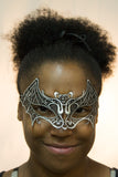 Costume Accessory - Lace Bat Mask with Elastic Band (Silver)