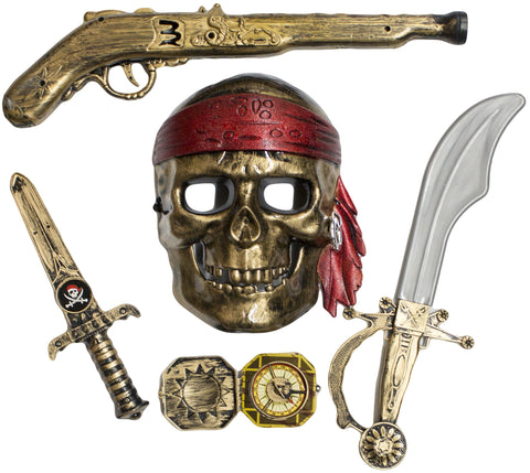 Skeleton Pirate Buccaneer 5 Piece Costume Accessory Kit