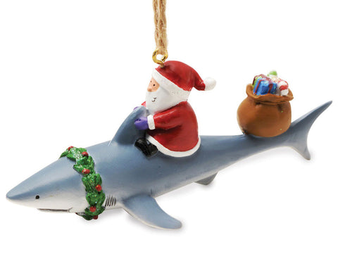 Santa Riding Shark Nautical Fishing Christmas Ornament