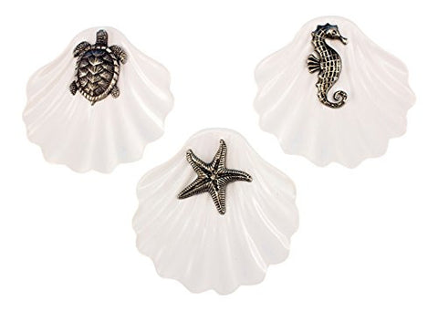 Turtle Starfish Seahorse Sealife on White Ceramic Clam Ring Holder Set of 3