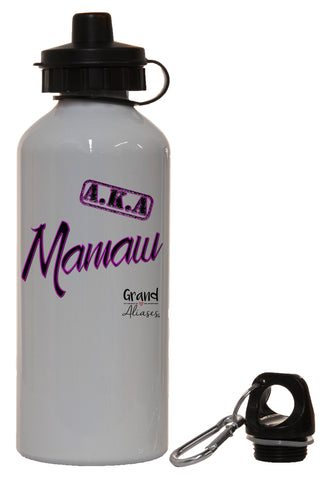 "Grand Aliases Series Grandmother ""A.K.A. Mamaw"" White Aluminum 14oz Water Bottle"