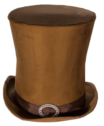 Costume Accessory - Candyman Style Brown Suede Tall Hat Top Hat