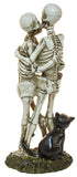 Halloween Dcor - 8 Inch Tall Kissing Skeleton Couple w/ Black Cat