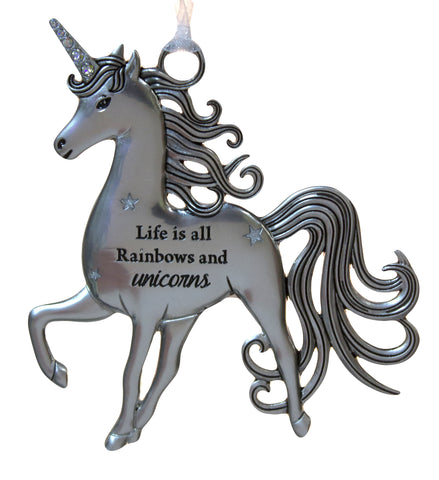 3 Inch Inspirational Zinc Unicorn Ornament - Life is Rainbows and Unicorns