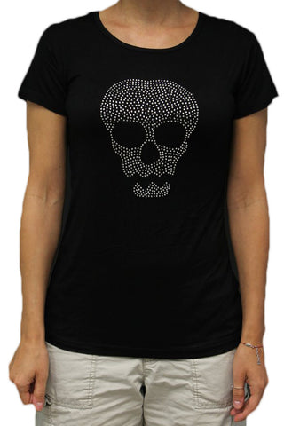 Rhinestone Skull Ladies Black Rayon Form Fitting T-shirt