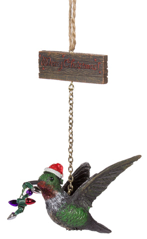 Christmas Ornament- Hummingbird w/ Santa Hat & Merry Christmas Sign