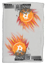 Bitcoin Smashes The Federal Reserve Super Soft 8 x 12 Inch Hand Towel