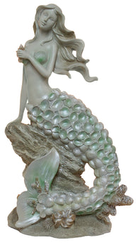 Elegant Nautical Decoration - 14 Inch Mermaid On Rock Statue