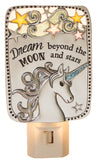 5 Inch Tall Unicorn Night Light Zinc/ Enamel (Dream beyond the moon)