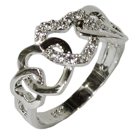 Women's Rhodium Plated Dress Ring Interlocking Hearts CZ 042