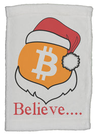"Bitcoin Logo W/ Santa Hat ""Believe"" Super Soft 8 x 12 Inch Hand Towel"