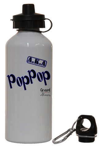 "Grand Aliases Series Grandfather ""A.K.A. PopPop"" White Aluminum 14oz Water Bottle"