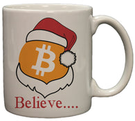 "Bitcoin Logo W/ Santa Hat ""Believe"" 11 Ounce Cermaic Coffee Mug"
