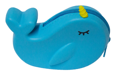 5 inch Silicone Zippered Narwhal Coin Purse
