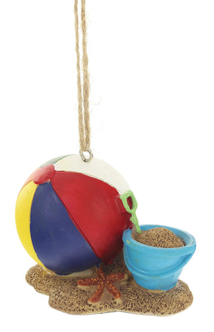 "MidWest 3"" x 2.5"" x 2"" Beach Ball and Sand Bucket Christmas Ornament"