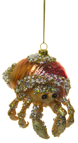 "4"" Bedazzled Hermit Crab Blown Glass Christmas Ornament"