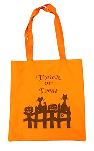 Cats and Pumpkins 14 Inch Safety Orange Canvas/Nylon Trick or Treat Bag