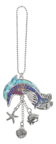 Dolphin Ganz Car Charm with Dangle Charms and Ball Chain for Rearview Mirror