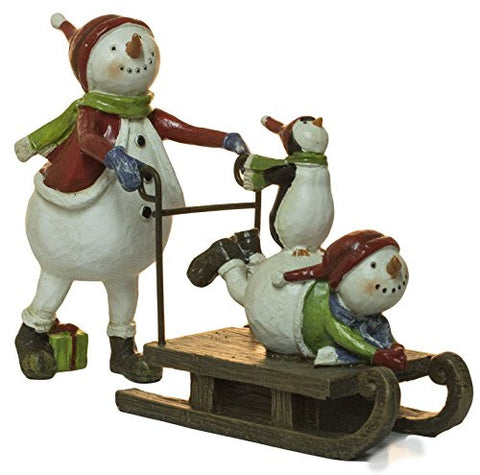 Ganz 5.25 Inch Polystone Snowman and Sled Christmas Decoration