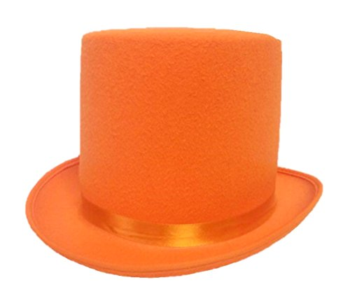 Dumb and Dumber Style Orange Felt Top Hat Adult Tuxedo Costume Accessory Prom