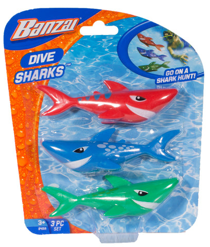 Banzai Swimming Pool Diving Toys Sharks, 3 in a Pack, Ages 3+