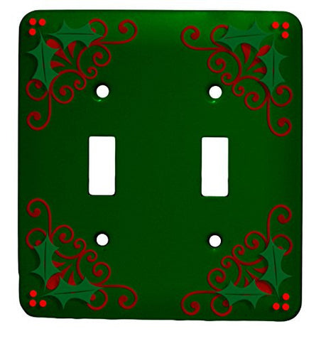 Holly Christmas Double Toggle Holiday Metal Light Switch Cover