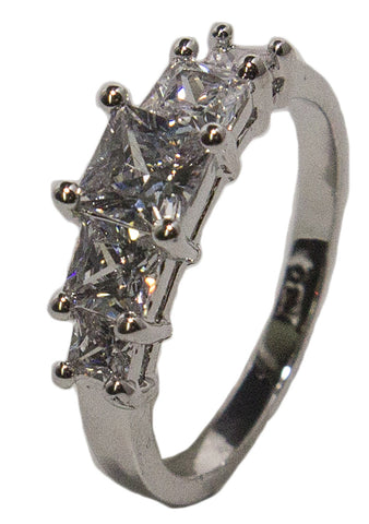 Women's Rhodium Plated Dress Ring Princess Cut CZ Band 019