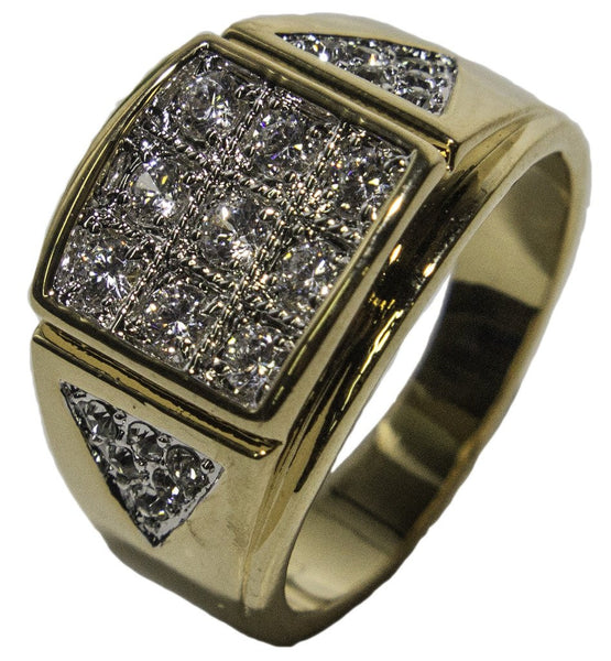 Men's 18 KT Gold Plated Dress Ring with CZ and Austrian Crystal 031