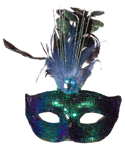 Costume Accessory - Sequin Covered Carnival Mask w/ Feathers & Faux Gem