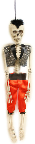 "20"" Hanging Skeleton Halloween Decoration with Poseable Legs (Punk Rocker)"