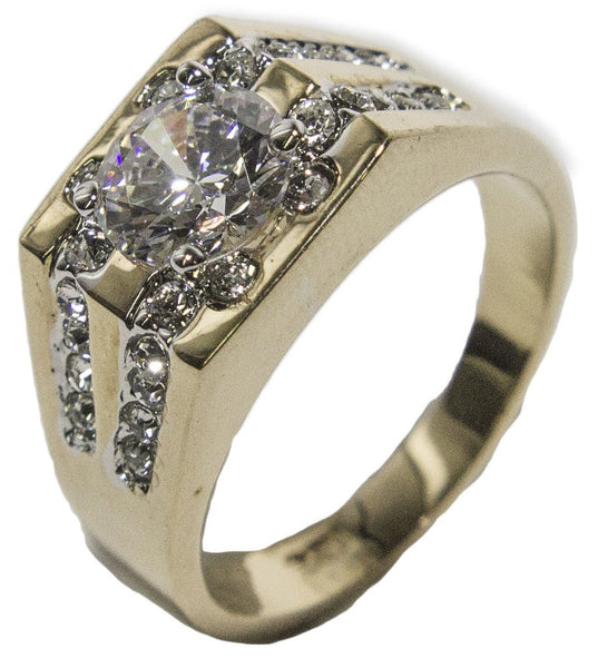 Men's 18 KT Gold Plated CZ and Austrian Crystal Dress Ring 027