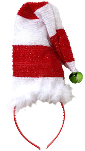Striped Santa Hat with Bell Costume Headband