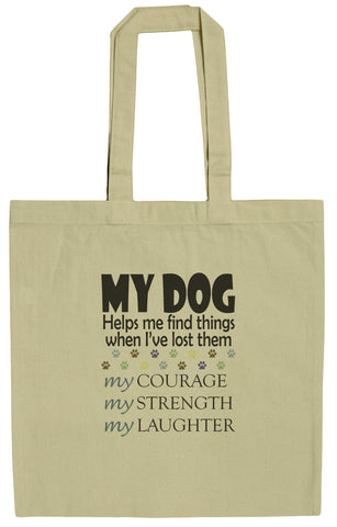 Dog Lovers My Dog Helps Me Find Things 15 Inch Canvas Tote Bag
