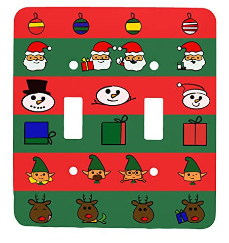 Doodle Christmas Double Toggle Holiday Metal Light Switch Cover