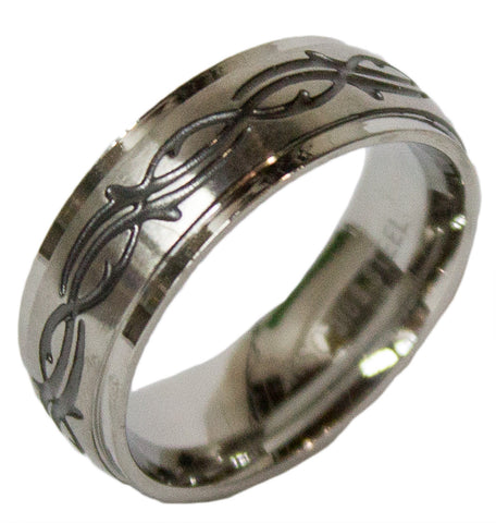 Men's Stainless Steel Dress Ring Tribal Pattern Band 096
