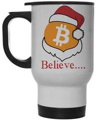 "Bitcoin Logo W/ Santa Hat ""Believe"" 12 Ounce Hot/ Cold Travel Coffee Mug (White)"