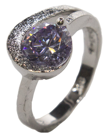 Women's Rhodium Plated Dress Ring Lavender Round Cut CZ 013