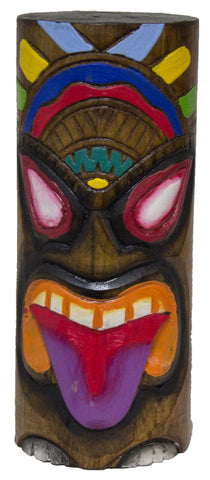8 Inch Tall Hand Carved Tiki Wood Totem Pole (Purple Tongue)