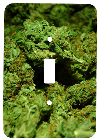 Single Toggle Metal Light Switch Cover with Marijuana Design
