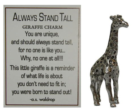 Always Stand Tall Zinc Giraffe Pocket Charm with Story Card by Ganz