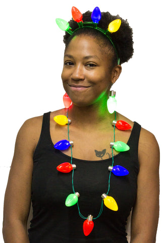 Human Christmas Tree Costume Kit - Flashing Necklace, Earrings and Headband