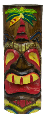 Hand Carved Hand Painted 10 Inch Large Tiki Totem Pole - Palm