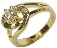Women's 18 Kt Gold Plated Dress Ring Circle Cut CZ Solitaire 115