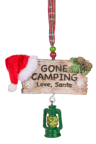 Gone Camping Love, Santa Christmas Ornament w/ Lantern & Santa Hat