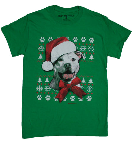 Men's Dog Lovers Pit Bull Ugly Sweater Style Christmas T-Shirt
