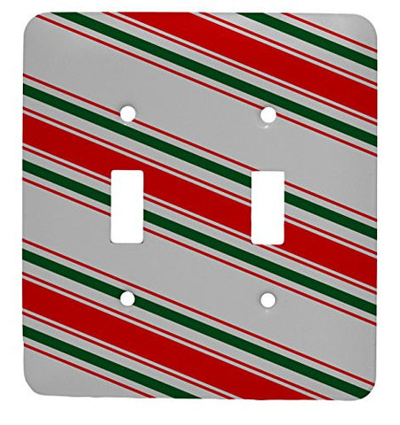 Candy Cane Christmas Double Toggle Holiday Metal Light Switch Cover