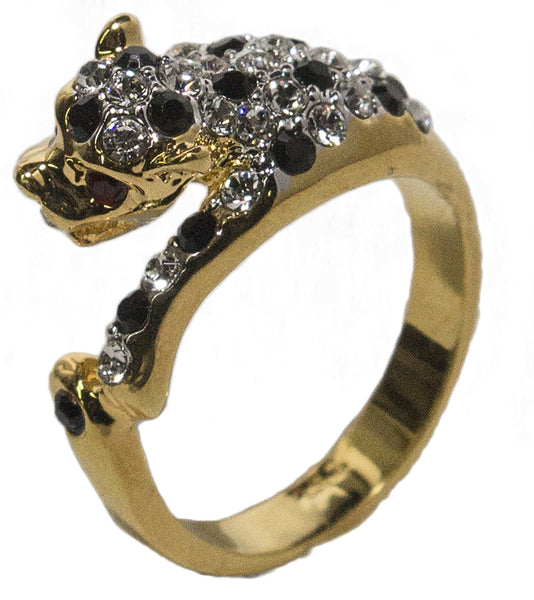 Women's 18 Kt Gold Plated Dress Ring Austrian Crystal Leopard 021