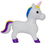 8 Inch Soft Plastic Squeezable Squeaking Unicorn Figurine (White)