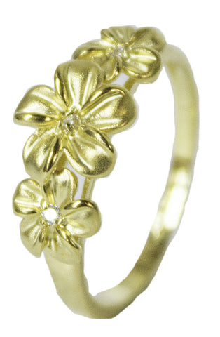 Women's 18 Kt Gold Plated Dress Ring Triple Flower with CZ 060